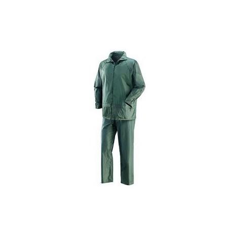 Completo giacca-pantalone da lavoro in poliestere spalmato pvc verde NW NERI    mod. NIAGARA