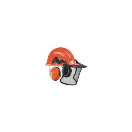 Elmetto da boscaiolo arancio con cuffia antirumore Peltor e visiera a rete      metallica NW NERI mod. 131025
