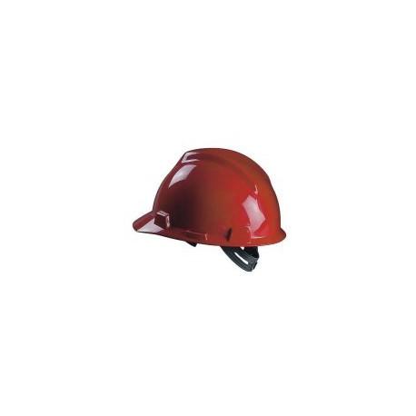 Elmetto da lavoro rosso bardatura push-key M.S.A. mod.V-GARD GV131