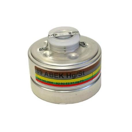Filtro a vite 93 A1B2E2K1 CO NO HG P3 riutilizzabile per maschere pieno-facciali M.S.A mod. 10115315