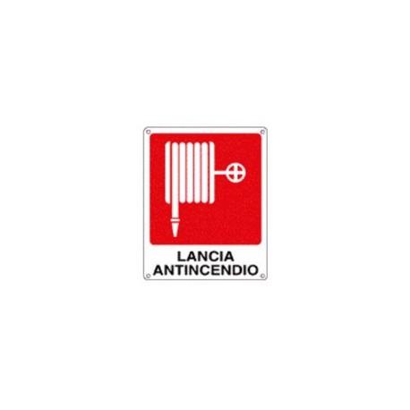 Cartello segnalatore monofacciale alluminio piano 120X145mm. mod.E20157K LANCIA ANTINCENDIO.