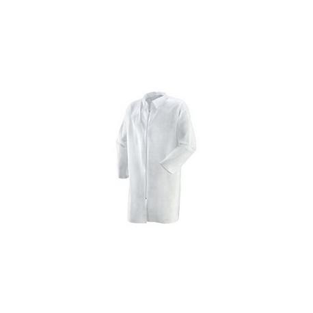 Camice da lavoro per alimentari in polipropilene bianco con cerniera mod. 487050