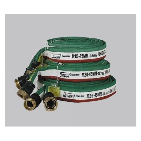 Manichetta UNI 70 lunghezza mt. 20 raccordata UNI 804 in tessuto poliestere     esterno e PVC interno mod. 8474 PATRIOT.