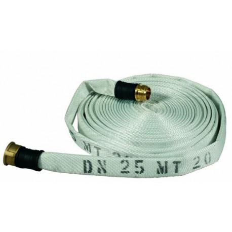 Manichetta UNI 25 lunghezza mt. 15 raccordata uni 804 in tessuto poliestere     esterno e PVC interno mod. 0961B.030.