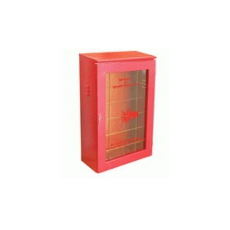 Cassetta per idrante UNI 45 in lamiera con bordi stondati e portello in         alluminio con lastra safe crash mod. 61142.