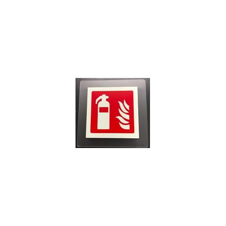 Cartello segnalatore monofacciale plexiglass satinato 150x150mm. RACK SYSTEM    mod.P8001AX ESTINTORE