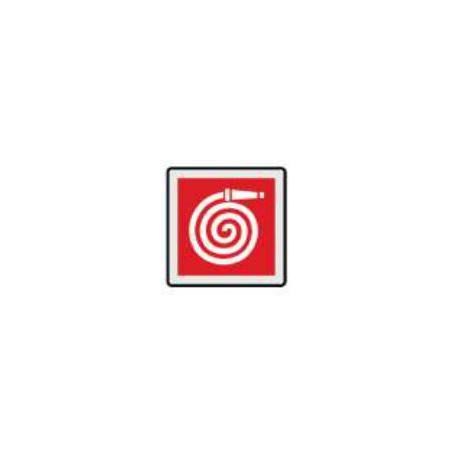 Cartello segnalatore monofacciale plexiglass satinato 150x150mm.                mod.P8002AX LANCIA ANTINCENDIO