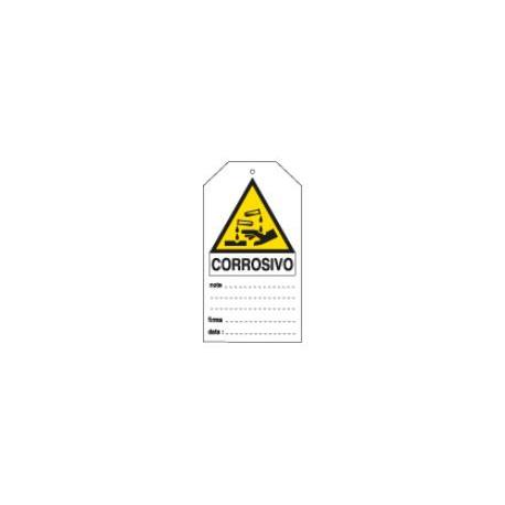 Cartello segnalatore monofacciale plastica rigida scrivibile 149x82mm.          mod.E9810 PERICOLO CORROSIVO.