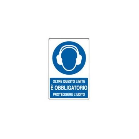 Cartello segnalatore monofacciale alluminio piano 330X500mm. mod.E1944X OBBLIGO PROTEGGERE UDITO OLTRE LIMITE.