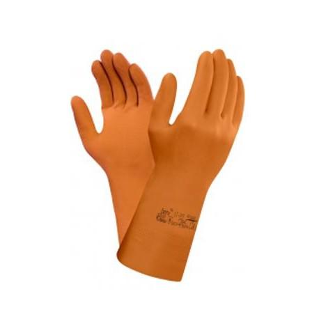 Guanti da lavoro polsino lungo in lattice arancione uso chimico ANSELL mod. 87- 955.