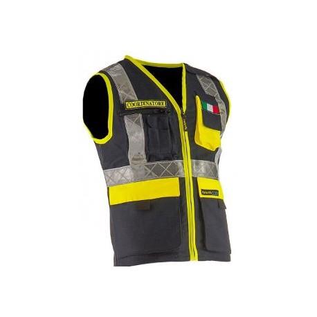 Gilet da lavoro multitasche con cerniera uso protezione civile REVERSE mod.     35351UT MULTITREK.