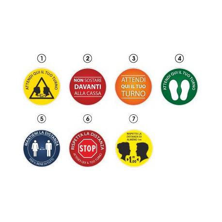 Etichetta adesiva da pavimento calpestabile disco diam. cm. 30 per emergenza    COVID-19 simboli vari mod. VIBA-GOFA.