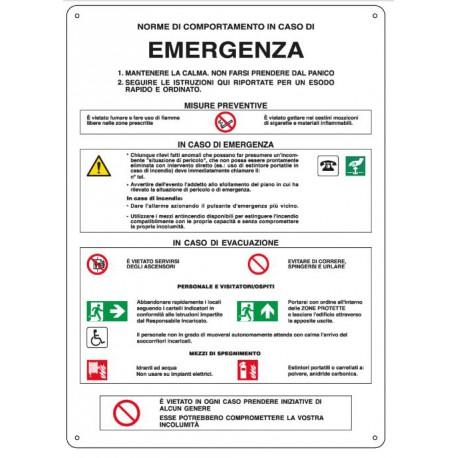 Cartello segnalatore monofacciale alluminio piano 250X350mm. mod. E3784 NORME DICOMPORTAMENTO IN CASO DI EMERGENZA.