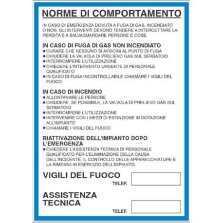 Cartello segnalatore monofacciale alluminio piano 210X297mm. mod. 10201K NORME  COMPORTAMENTO INCENDIO GPL.